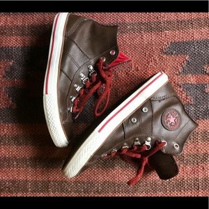 Brown Leather High Top Converse